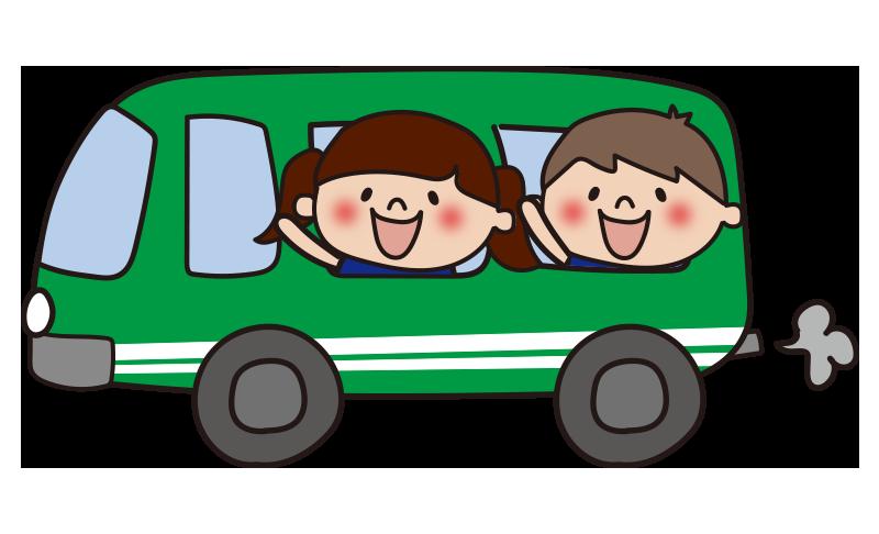 緑のバスに乗った子供