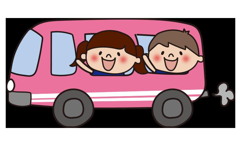 ピンクのバスに乗った子供