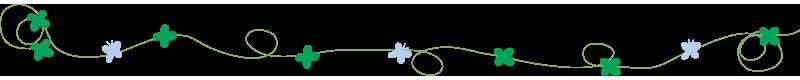 四つ葉と青い蝶のライン