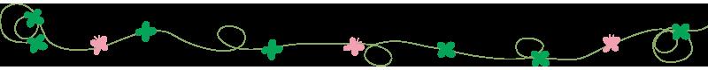四つ葉とピンクの蝶のライン