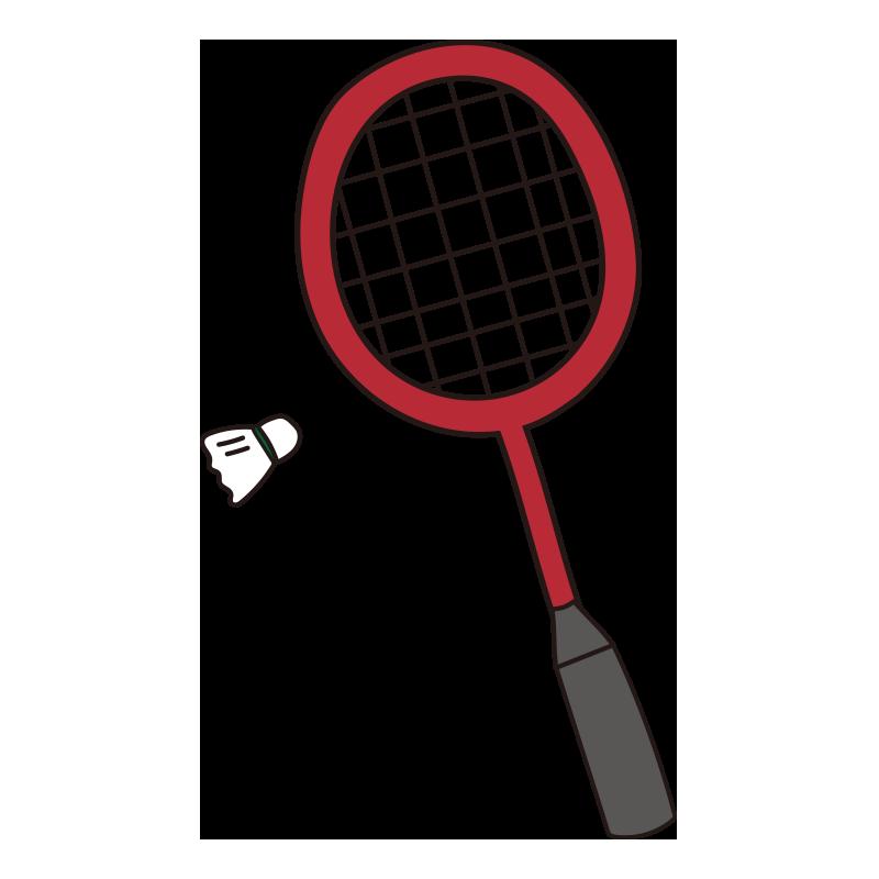 バドミントンのラケットと羽根(赤)