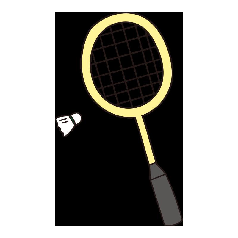 バドミントンのラケットと羽根(黄)