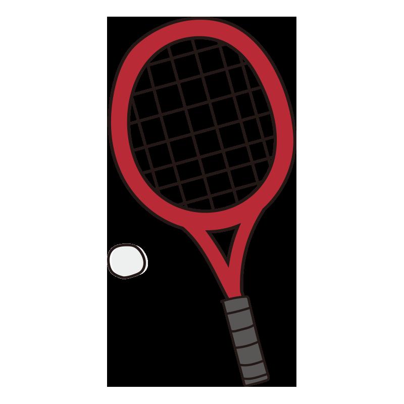 軟式テニスのラケットとボール(赤)