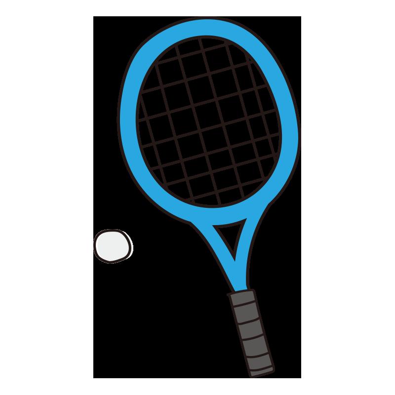 軟式テニスのラケットとボール(青)