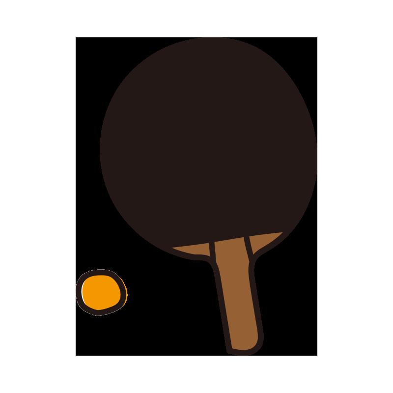 黒い卓球のラケットとボール