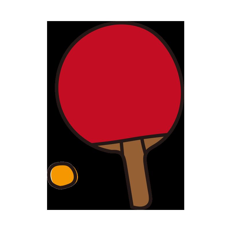 赤い卓球のラケットとボール