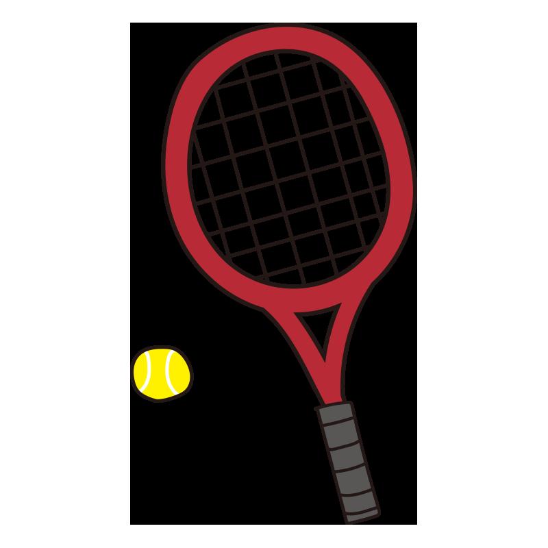 硬式テニスのラケットとボール(赤)