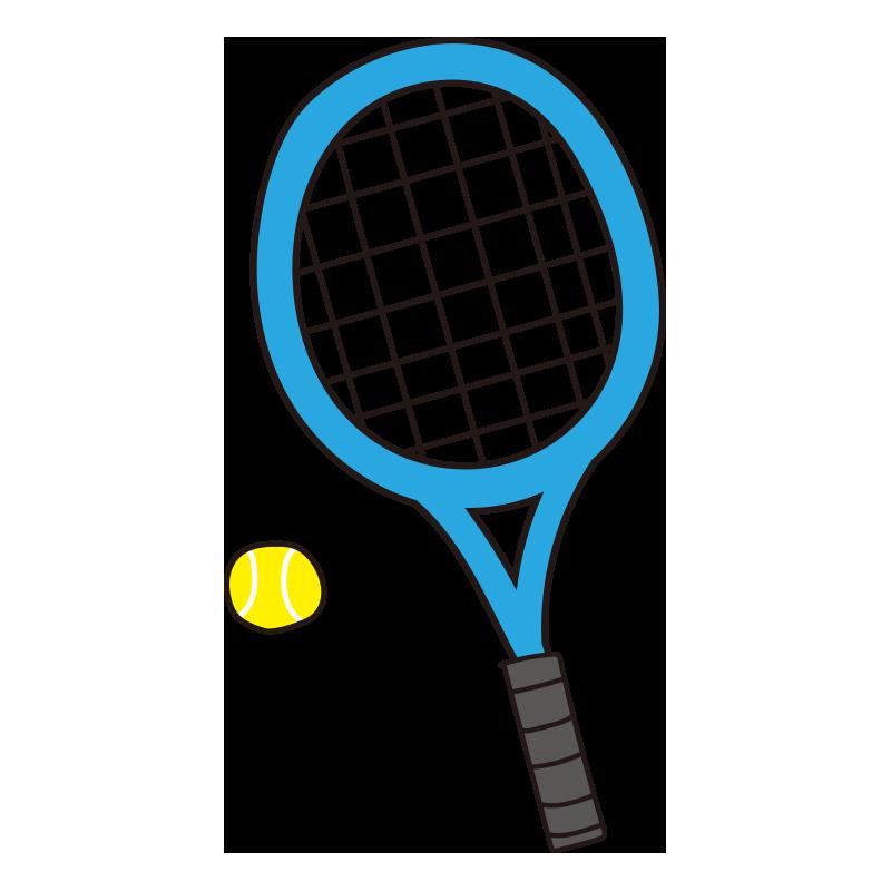 硬式テニスのラケットとボール(青)