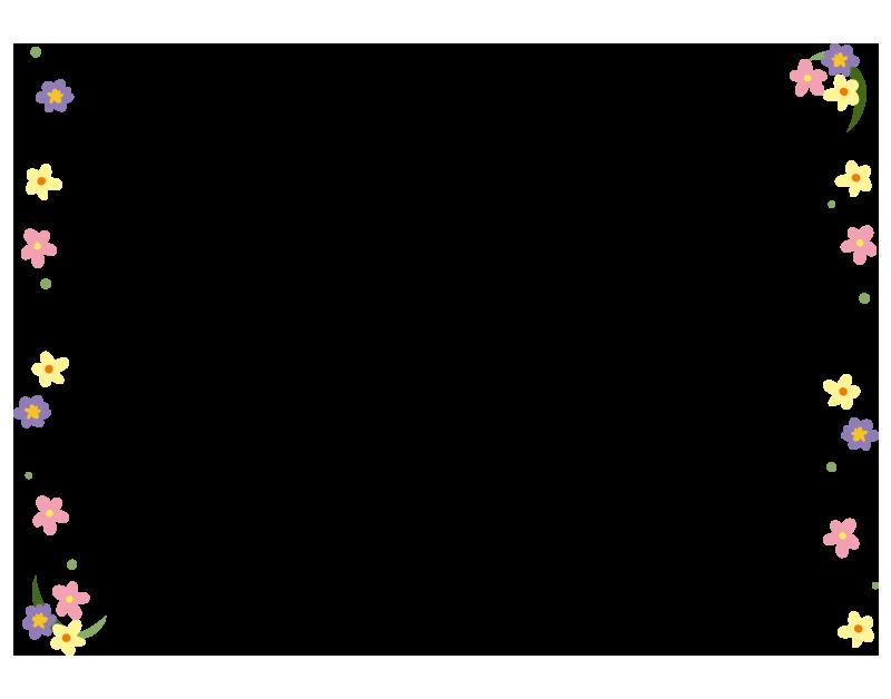 カラフルな小花の枠