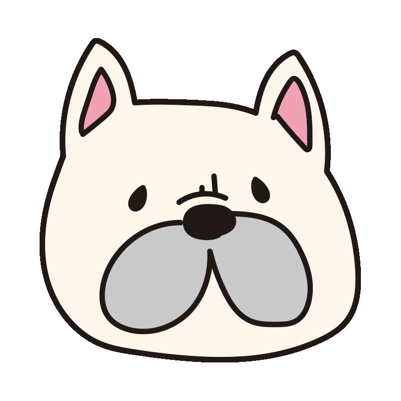 フレンチブルドッグの顔(白)