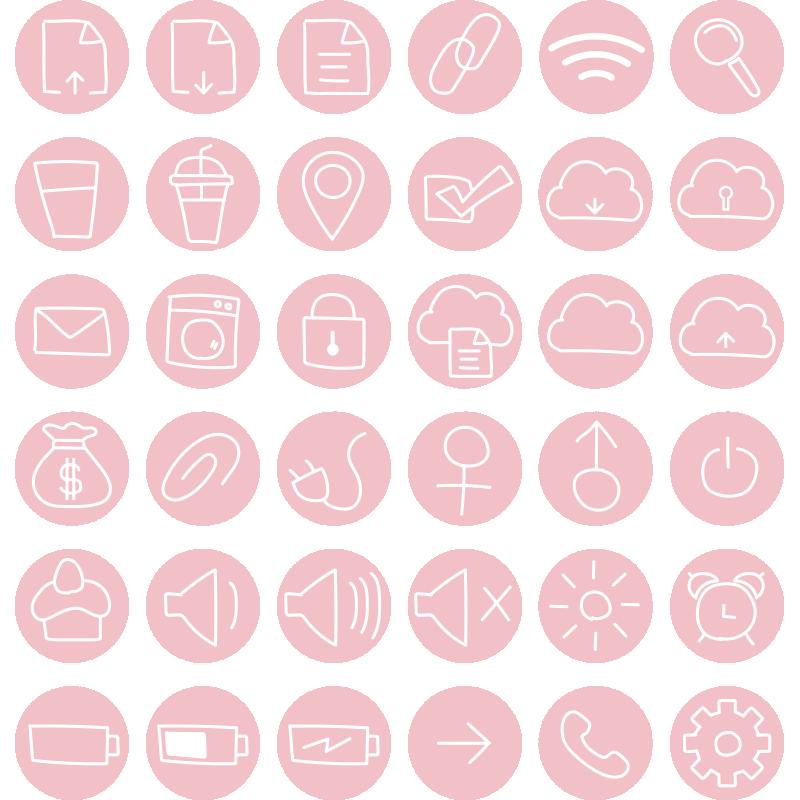 ピンクのアイコンセット1
