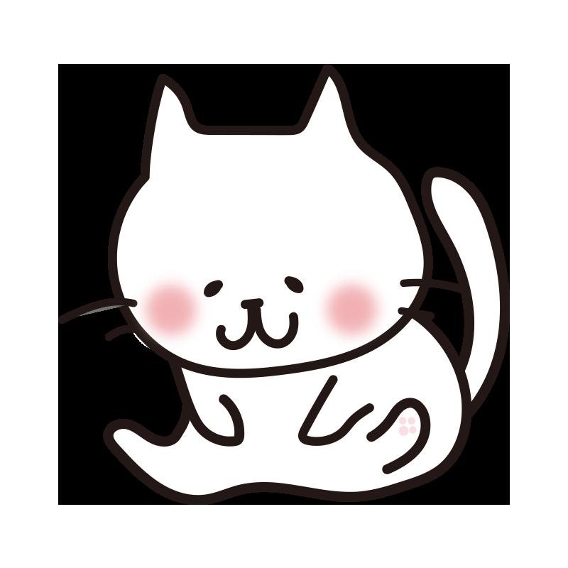 毛繕いする白い猫