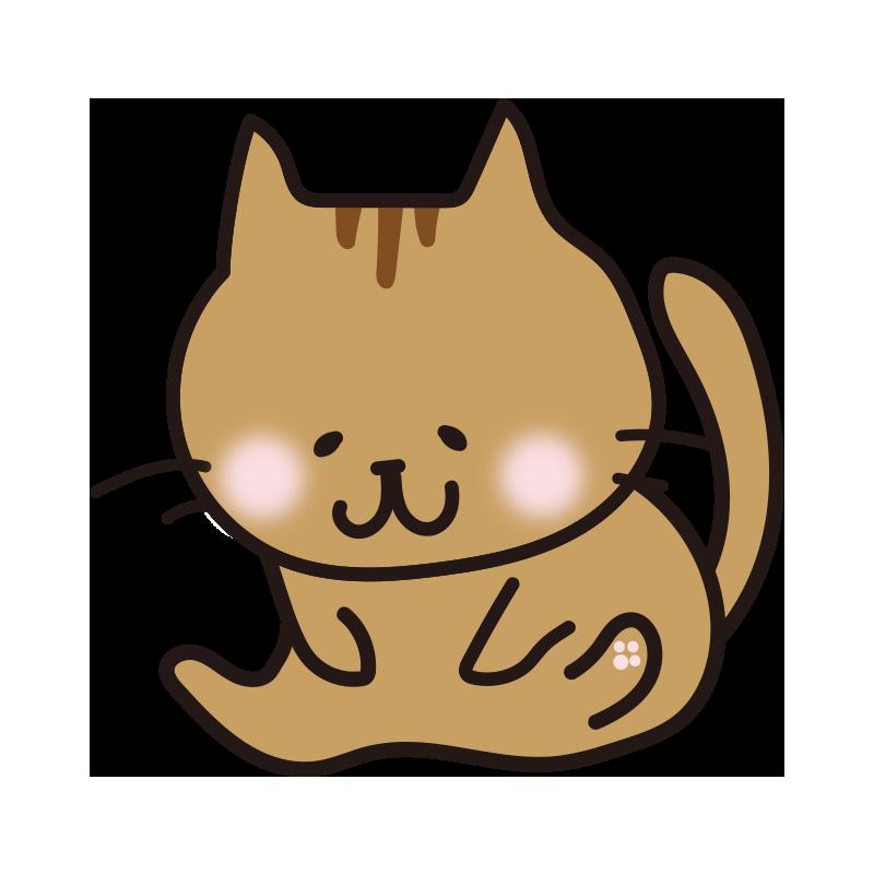 毛繕いする茶色の猫