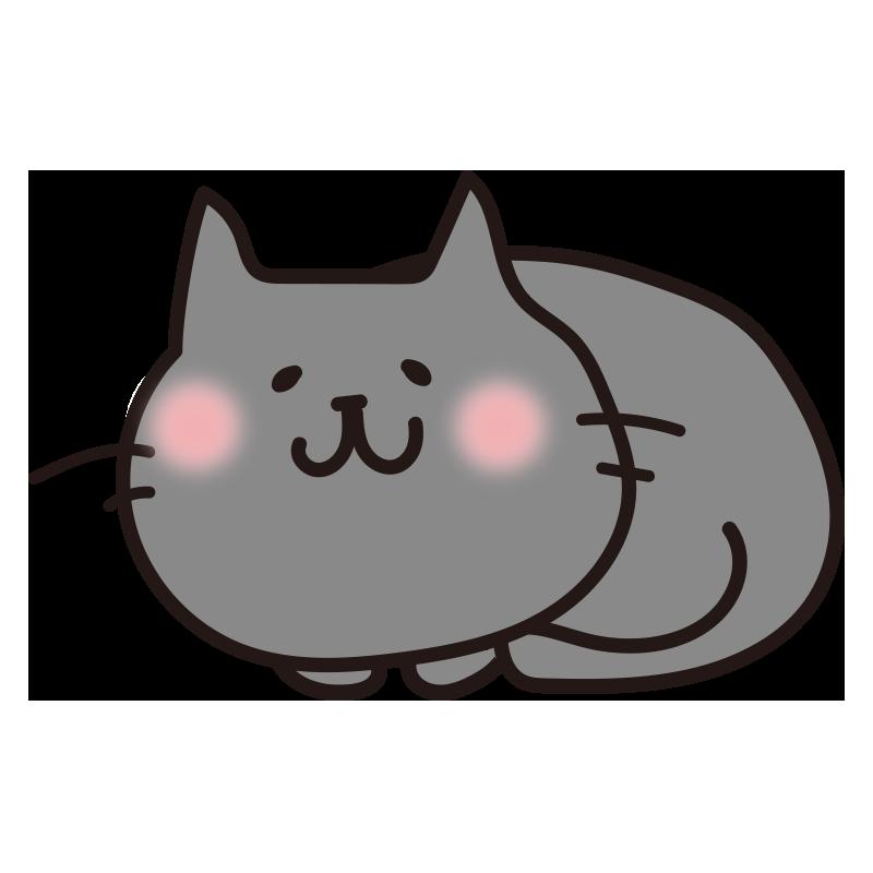 まるまった黒い猫