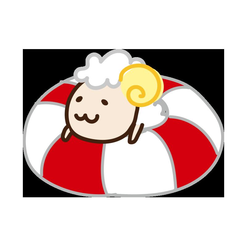 浮き輪にのる羊
