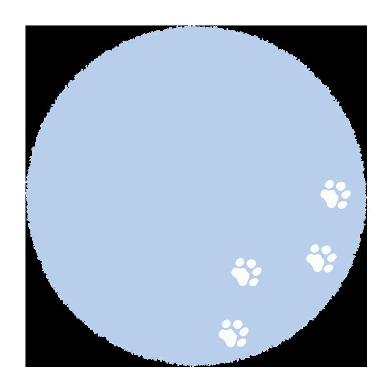 足跡のついた青い丸