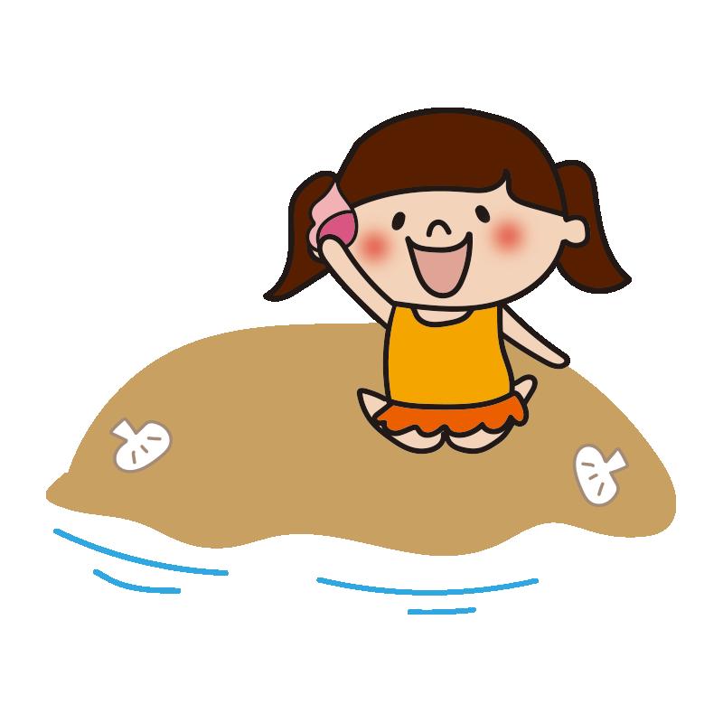 砂浜で貝を拾う女の子