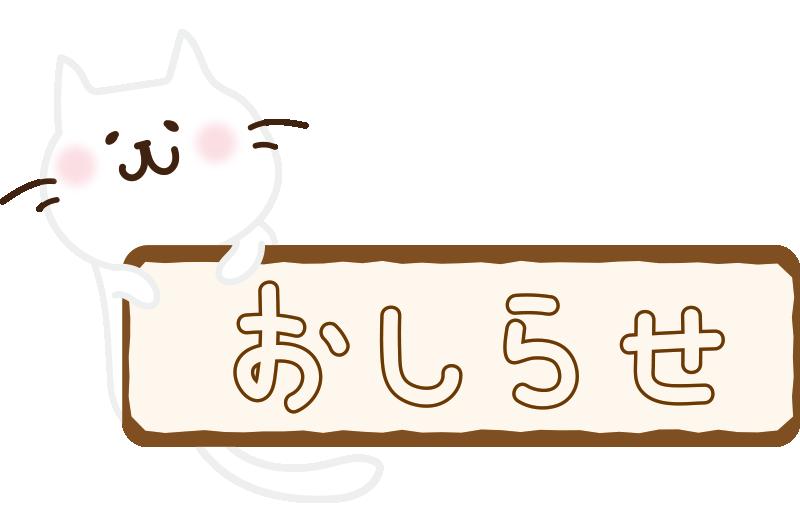 お知らせの看板を持つ白い猫