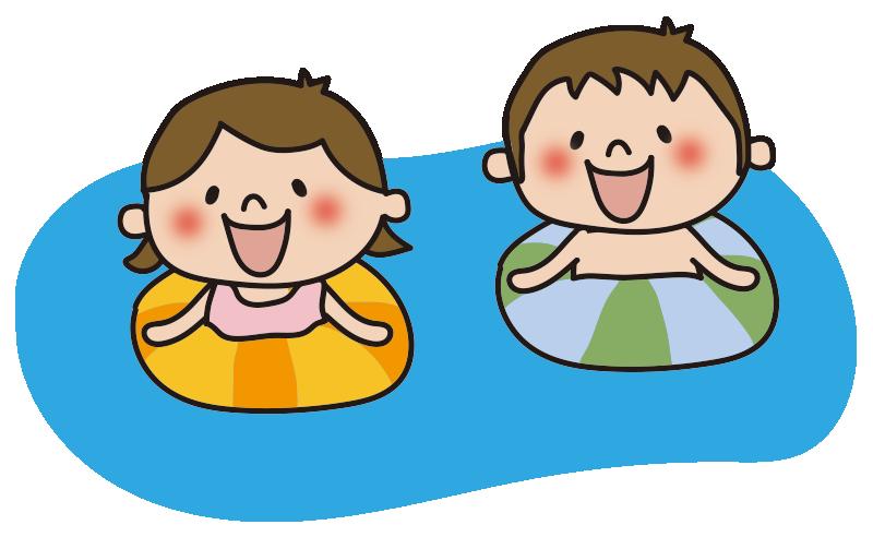 プールに浮かぶ子供たち