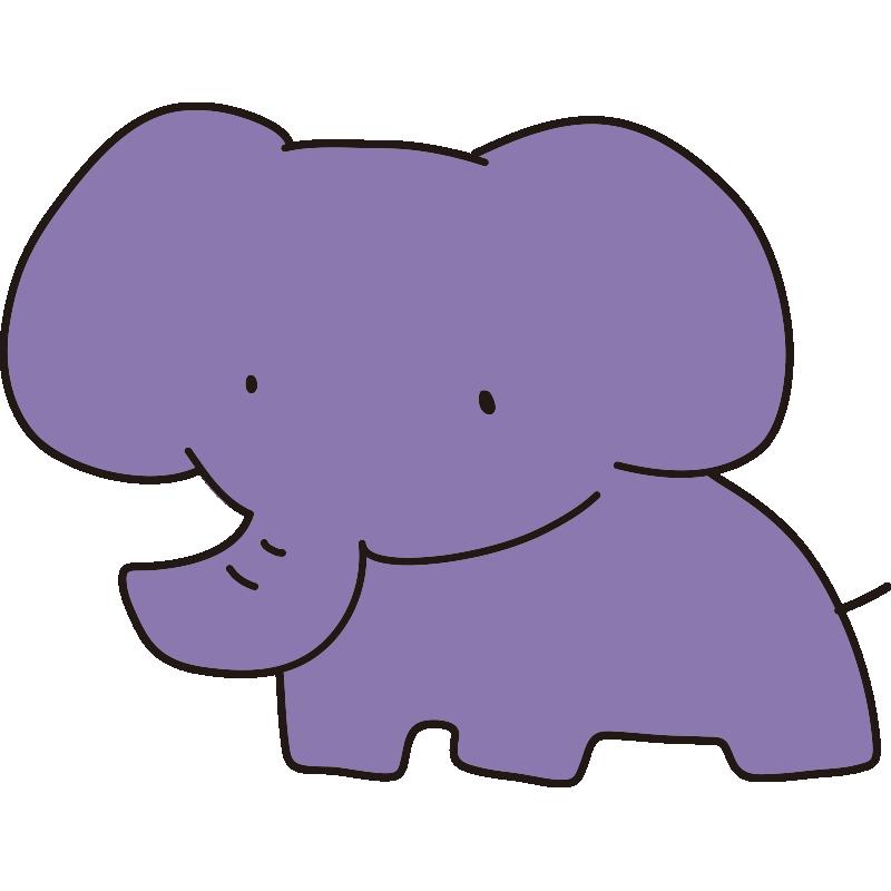 ゆるい紫のゾウ(全身)