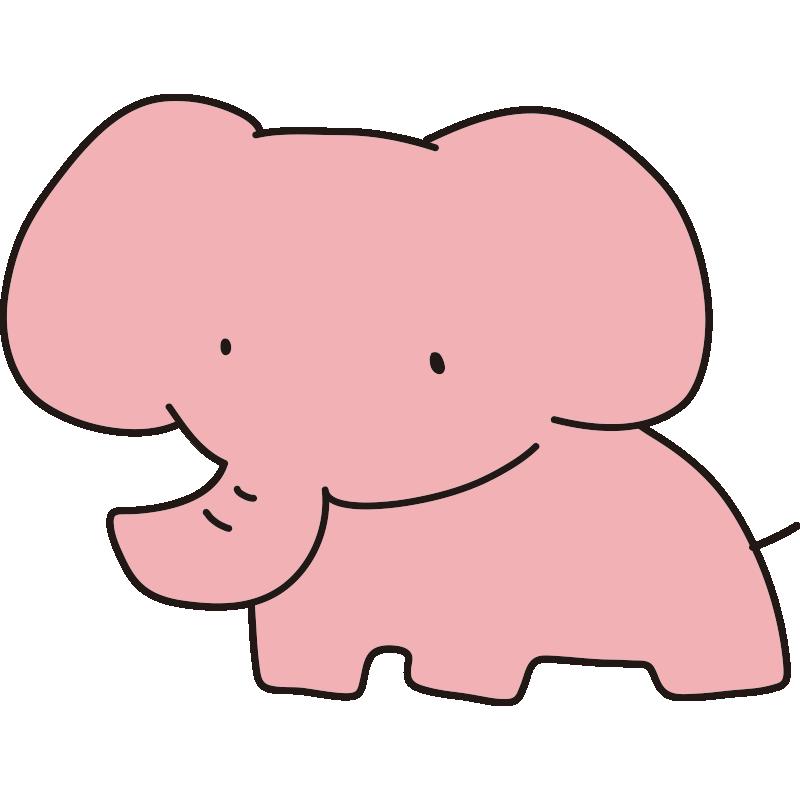 ゆるいピンクのゾウ(全身)
