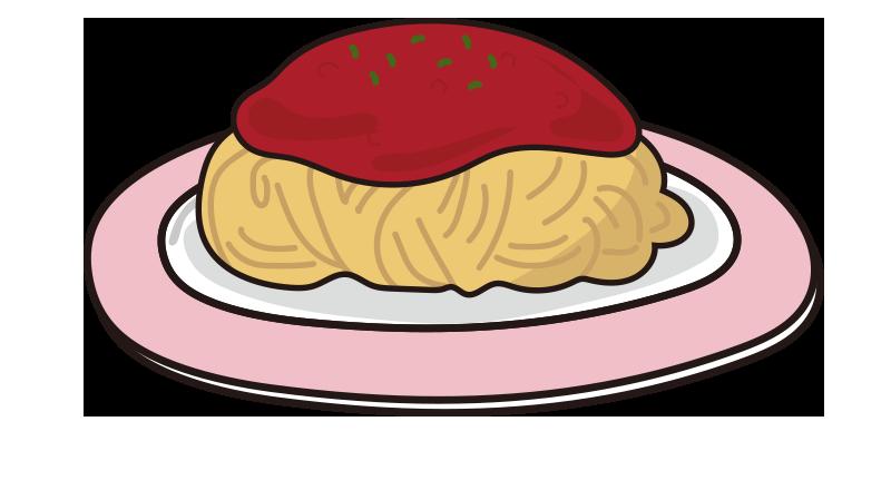 ピンクのお皿にのったミートソースパスタ