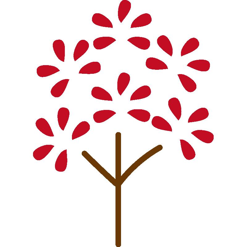 葉っぱがパッとなった木(赤)