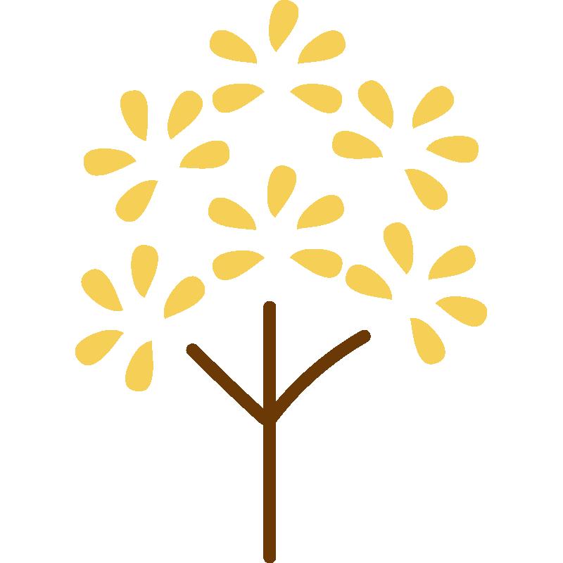 葉っぱがパッとなった木(黄)