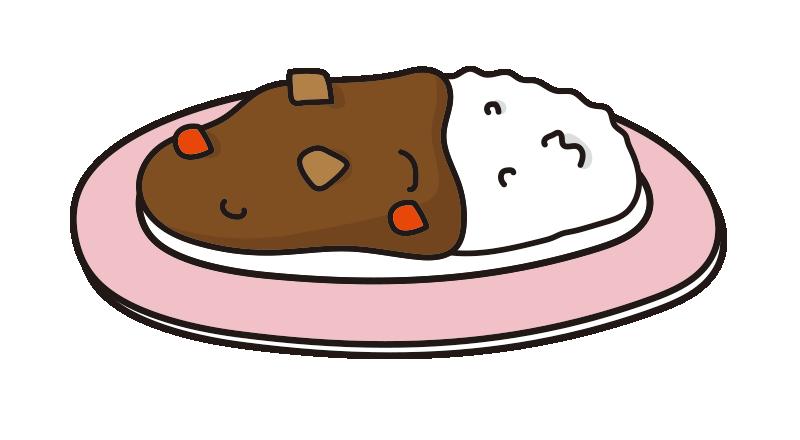 ピンクのお皿にのったカレーライス