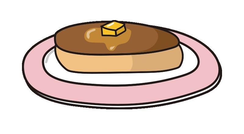 ピンクのお皿にのったホットケーキ