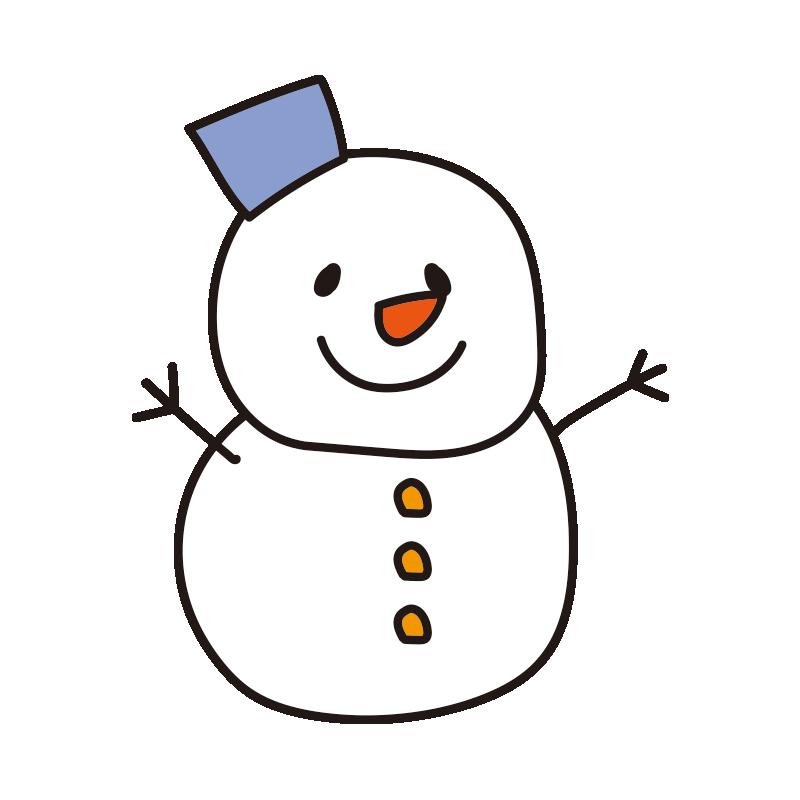 青いバケツの雪だるま