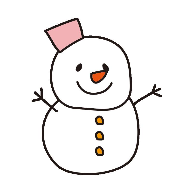 ピンクのバケツの雪だるま