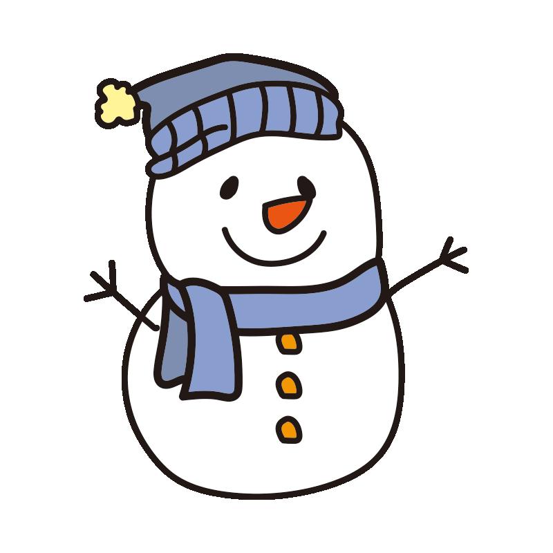 青い帽子とマフラーの雪だるま