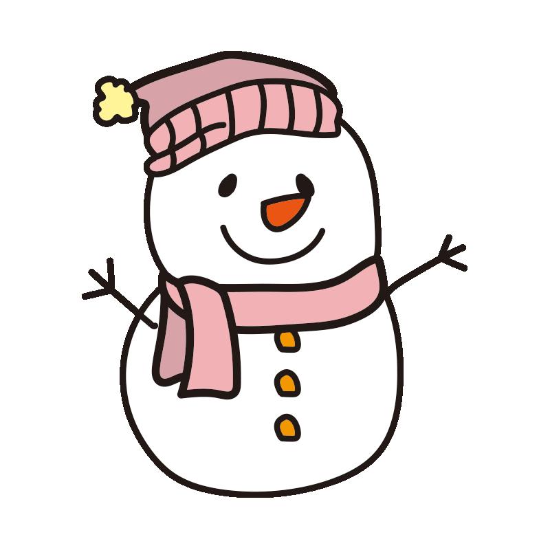 ピンクの帽子とマフラーの雪だるま