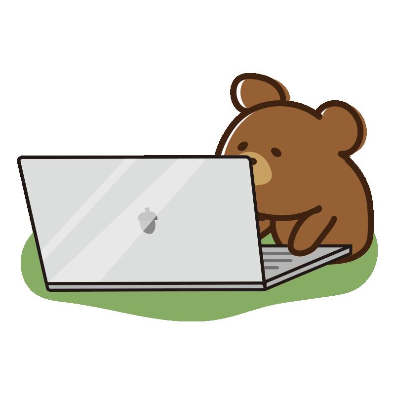 ノートパソコンを開くクマ
