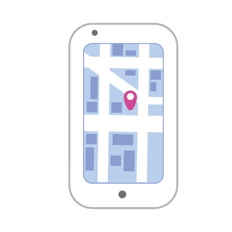 地図の画面のスマートフォン2