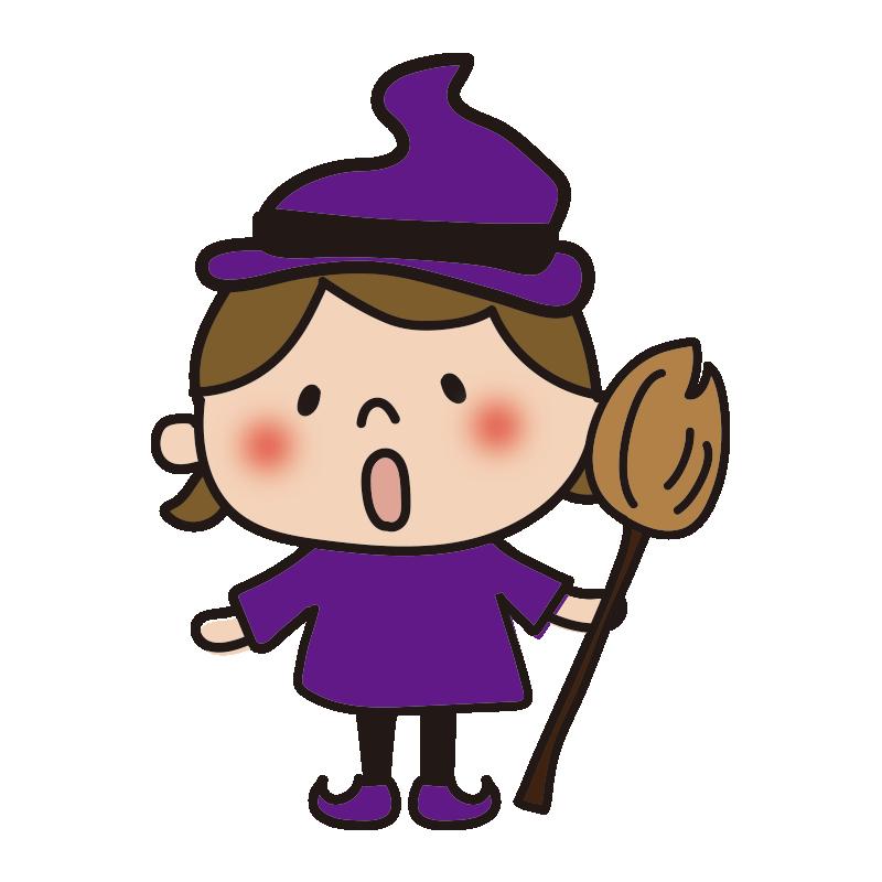 ハロウィンで仮装した子供(魔女)