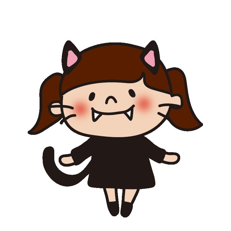 仮装した子供(黒猫)