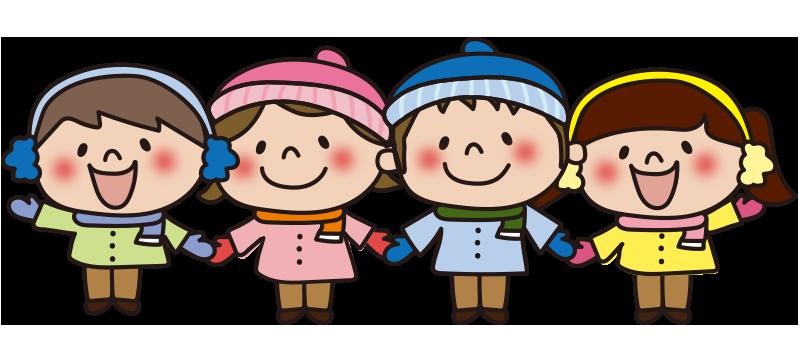 手をつなぐ冬の服装の子供たち2