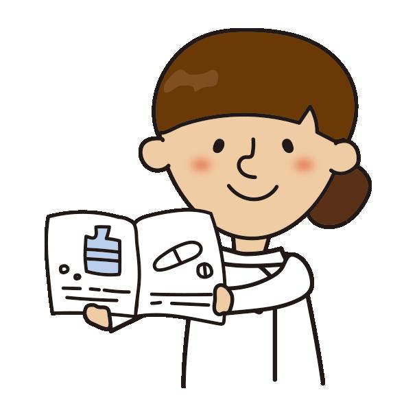 薬の説明をする看護師