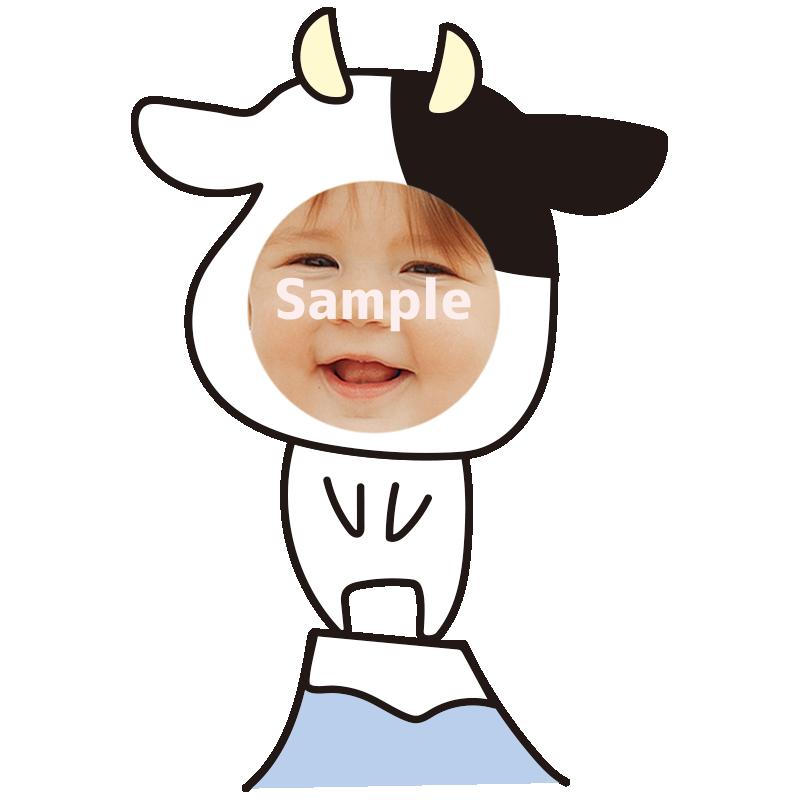 【顔はめ】富士山と牛