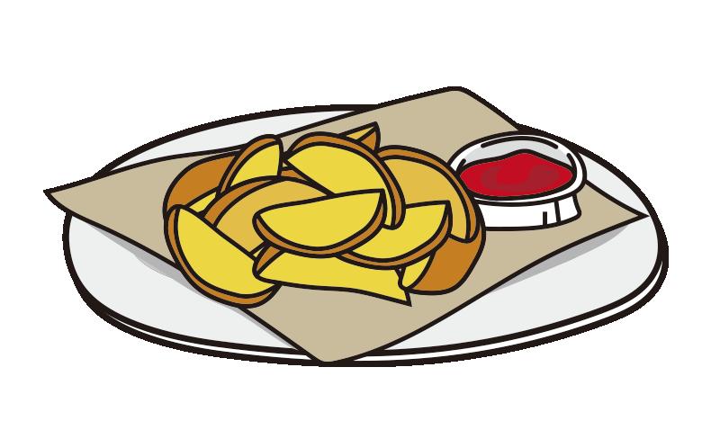 お皿にのったフライドポテト