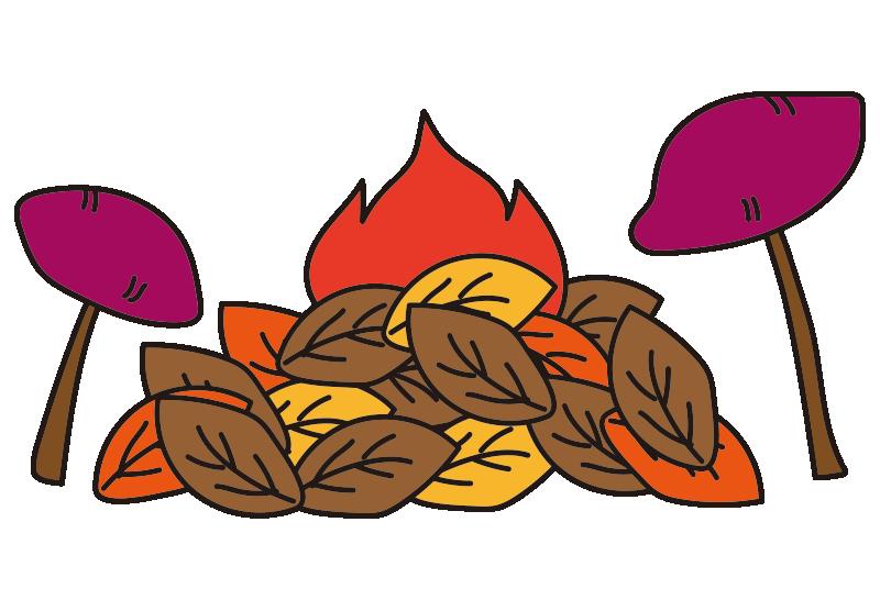 たき火で焼き芋