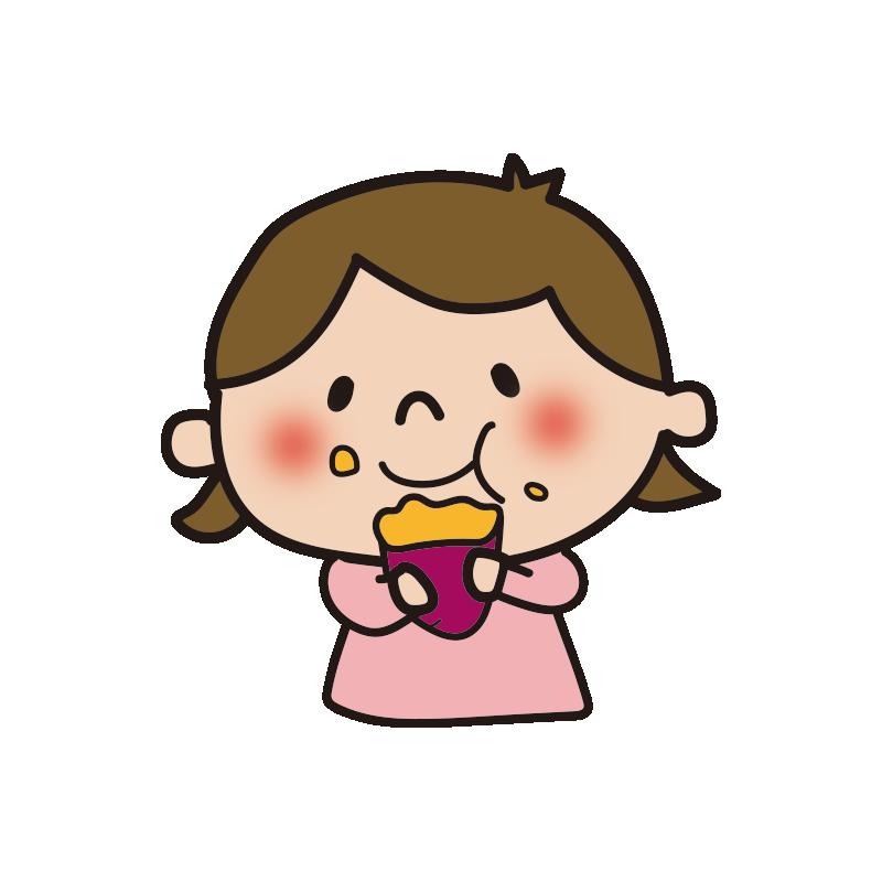 焼き芋をほおばる女の子