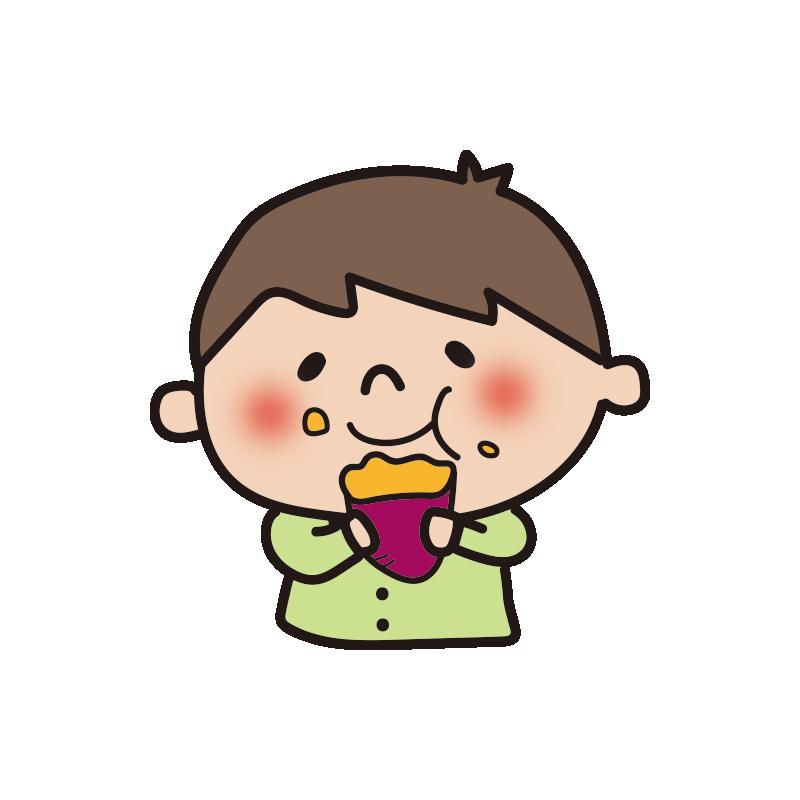 焼き芋をほおばる男の子