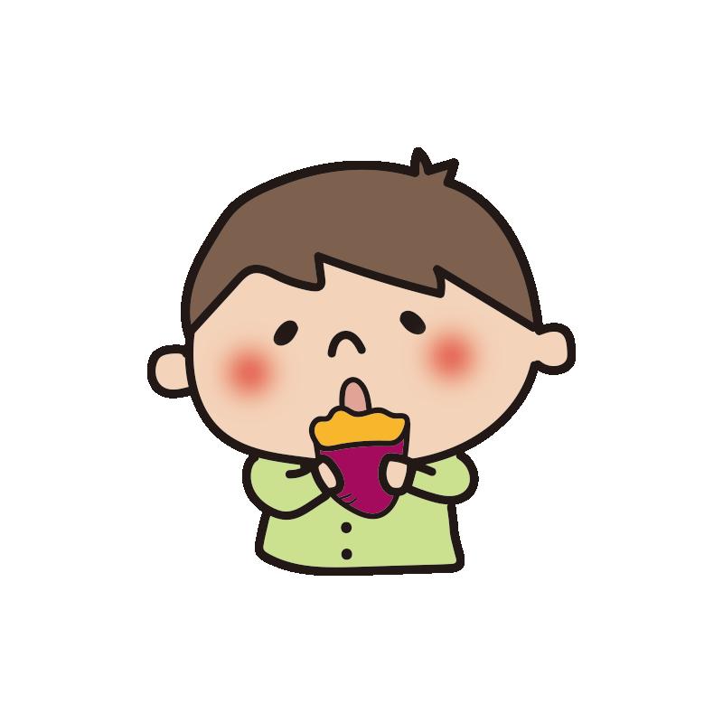 焼き芋を食べる男の子