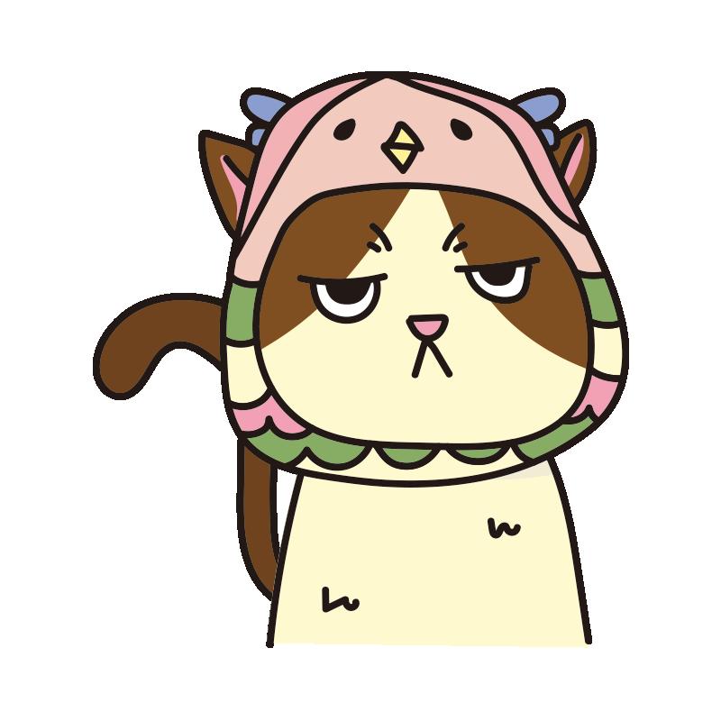 アマビエのかぶりもので不機嫌な猫(ハチワレ)