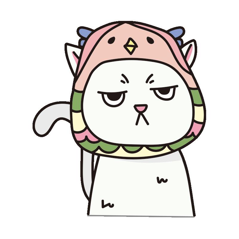 アマビエのかぶりもので不機嫌な猫(白)