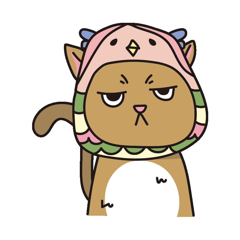 アマビエのかぶりもので不機嫌な猫(茶)