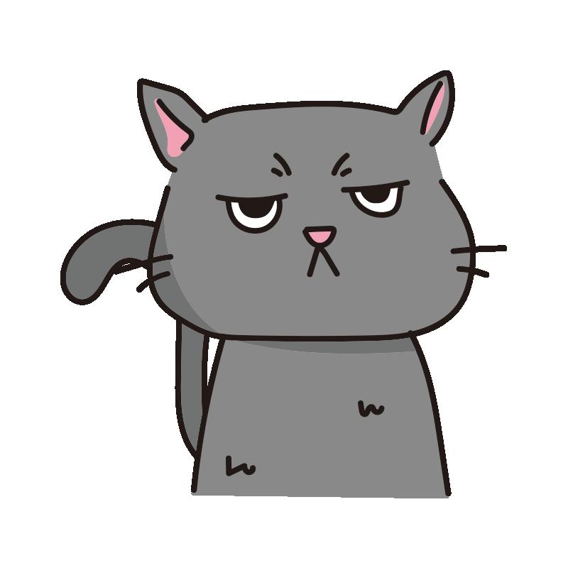 不機嫌なネコ(グレー)